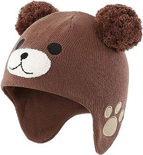 LLmoway Baby Toddler Infant Fleece Lined Knit Hat Kids Winter Earflap Pom Beanie