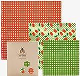 SuperBee Wraps   Envoltorios de Cera de Abeja   Set de 3 Tamaños: Pequeño, Mediano y Grande   Cherry Popper   Reutilizable, Eco Friendly, Zero Waste