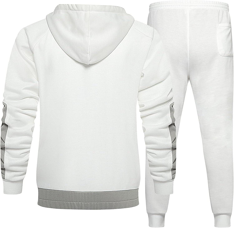 WUAI-Men 2 Pieces Outfit Set Casual Tracksuit Long Sleeve Zip Up Hoodies Jackets Sweatpants Jogging Athletic Sweat Suits