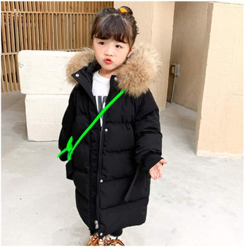 Kids Down Jacket Girls Down Jacket Outerwear Heavyweight Long Length Durable Thickened Waist Waist Coat for Baby Winter Down Coats (Color : Black, Size : 120)