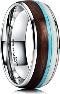 King Will Nature Wood Calaite Inlay Dome Tungsten Carbide Wedding Ring Band Unisex Comfort Fit
