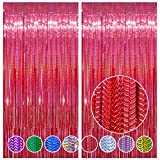 2 Pack 3.2 x 8.2 ft Foil Fringe Backdrop - 2 Pack Foil Curtains Backdrop Streamers for Birthday Parties Sparkle Foil Curtains for Party Photo Background Decoration Red