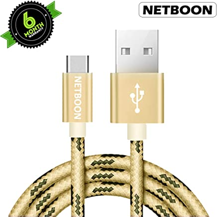 NETBOON Flash Braided Fast Charging and Data Transfer Power Cable for USB C Type Compatible with Samsung Galaxy Note, Google Pixel XL 2 (Gold)
