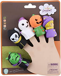 CCINEE 5 Pieces Halloween Finger Puppets Witch, Ghost, Grim Reaper, Green Monster, and Pumpkin Character Finger Toys for Children and Adults, Halloween Party Favors Goodie Bag Fillers