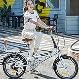 ZEIYUQI Bicicletas 20 Pulgadas Ligero Bicicleta Plegable De Velocidad Variable Adulto Montar Al Aire Libre para Niños,Blanco,Variable Speed B