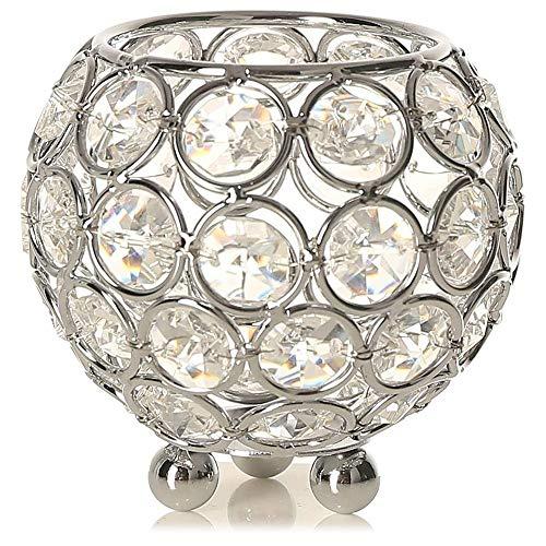 POFET Portavelas de cristal votivo de 5 pulgadas/12 cm, para el hogar, banquetes o candelabros, mesa decorativa de centro de mesa, color plateado