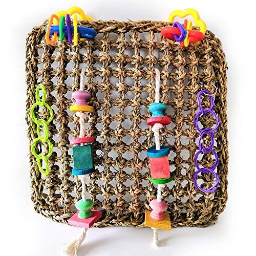 FZQ Vogelspeelgoed, parrot, climbing-net, natuurgras, handgeweven, touw, veilig en milieuvriendelijk, creatief materiaal voor alle soorten papegaaien