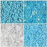 40 Grams of 1/4 TILA Turquoise, Miyuki Quarter Tila 2 Hole Beads. 4 Colors of 10 Grams Each. Turquoise Rainbow, Blue Topaz, Crystal Rainbow.