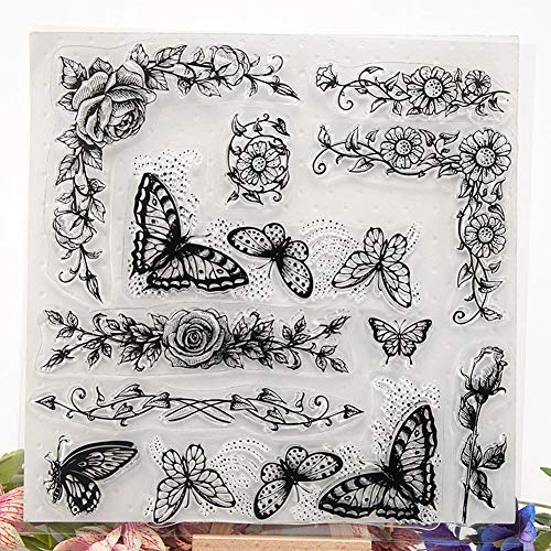 Tikkii Butterfly Flowers Clear Stamps for Card Making and Scrapbooking, 8x8''