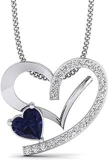 H-I, I1-I2 JewelAngel 10k Yellow Gold 1//8ct TDW Diamond Heart and Cross Pendant Necklace