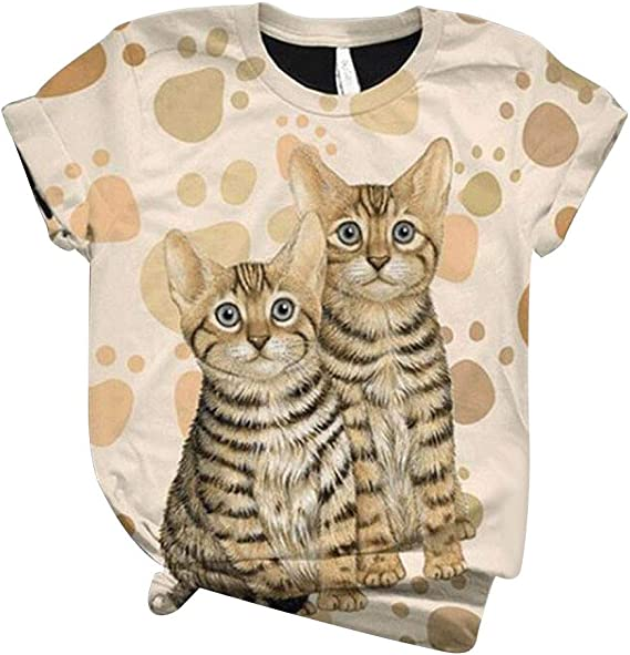 VEFSU Color Block T-Shirt for Women Plus Size Casual Loose Letter Cat Printed O-Neck Tops