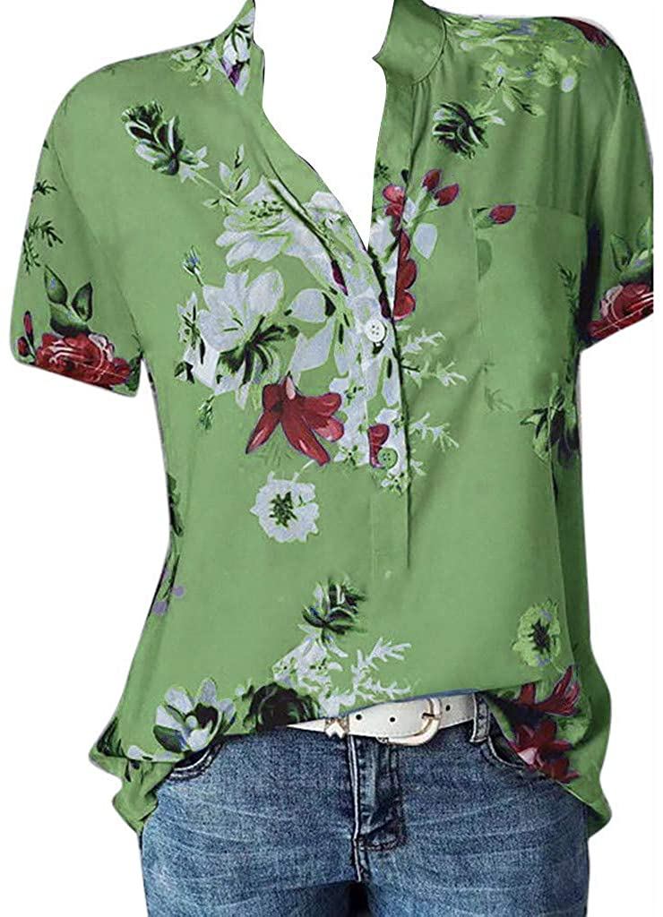 Women's Button Down T Shirts Plus Size Summer Casual V Neck Short Sleeve Retro Priting Tops Elegant Blouses for Women