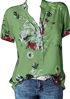 Xmiral Blouse tops dames Henry kraag bloem print korte mouwen / lange mouwen T-shirt