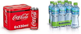 Coca-Cola Zero Soft Drink in Can, 330 ml (Pack of 6) + Arwa Drinking Water, 500 ml (Pack of 6)