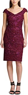 DKNY Womens Purple Sweetheart Corded Lace Cap Sleeve V Neck Knee Length Sheath Party Dress US Size: 4