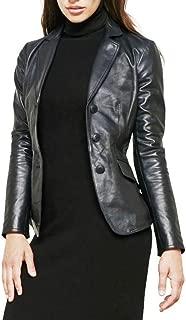 Women's Black Soft Lambskin Short Leather Blazer 3-Button Jacket