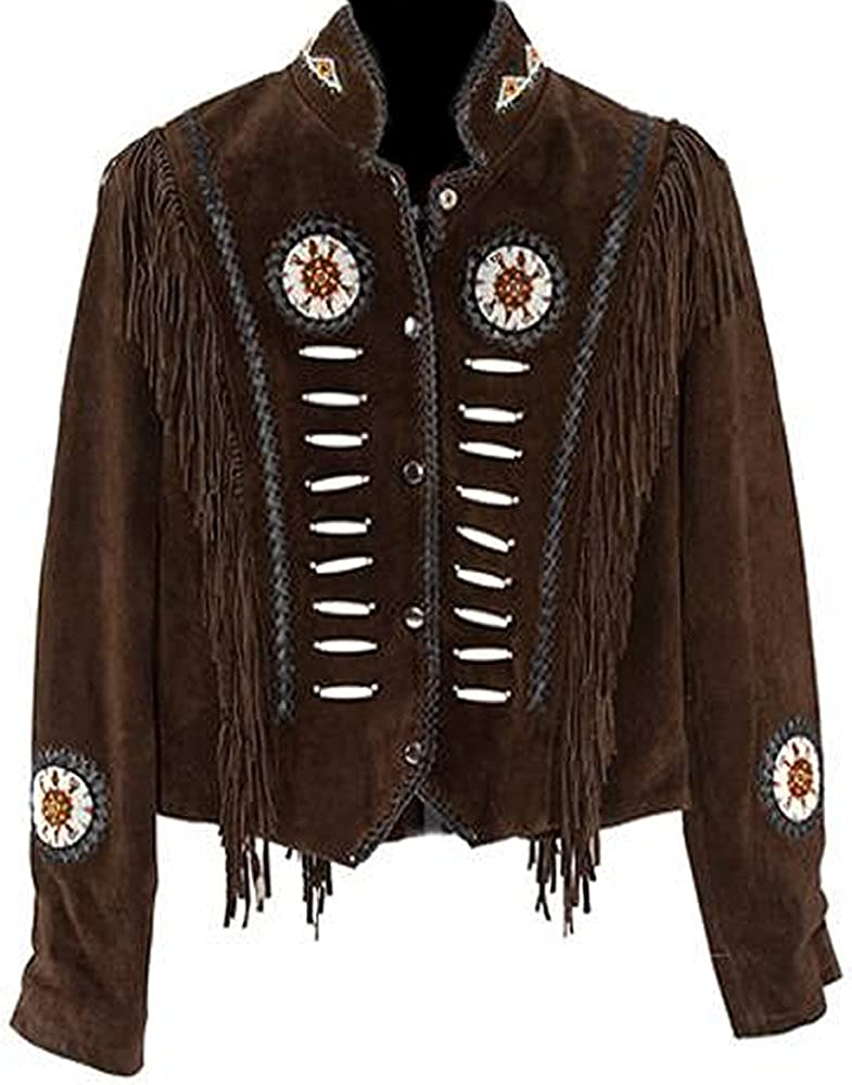 1950s Coats and Jackets History Classyak Womens Western Suede Leather Jacket with Beads Fringes and Bones  AT vintagedancer.com