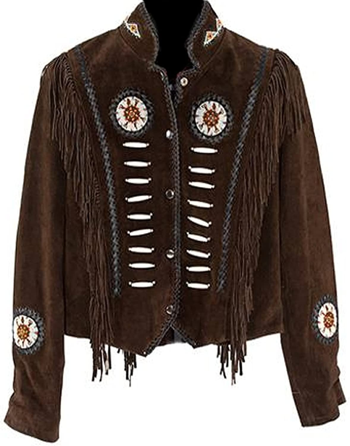 Classyak Western Suede Leather Jacket with Beads, Fringes and Bones, Xs4xl