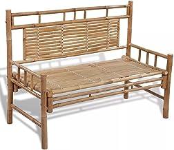 Fxool Bench with Backrest Garden Beach Chair Indoor Outdoor Furniture Bamboo