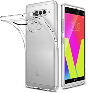 LG V40 ThinQ Case, LG V40 Case, PUSHIMEI Soft TPU Crystal Transparent Slim Anti Slip Anti-Fingerprint Full-Body Protective Phone Case Cover for LG V40 ThinQ/LG V40 Storm (Clear TPU)