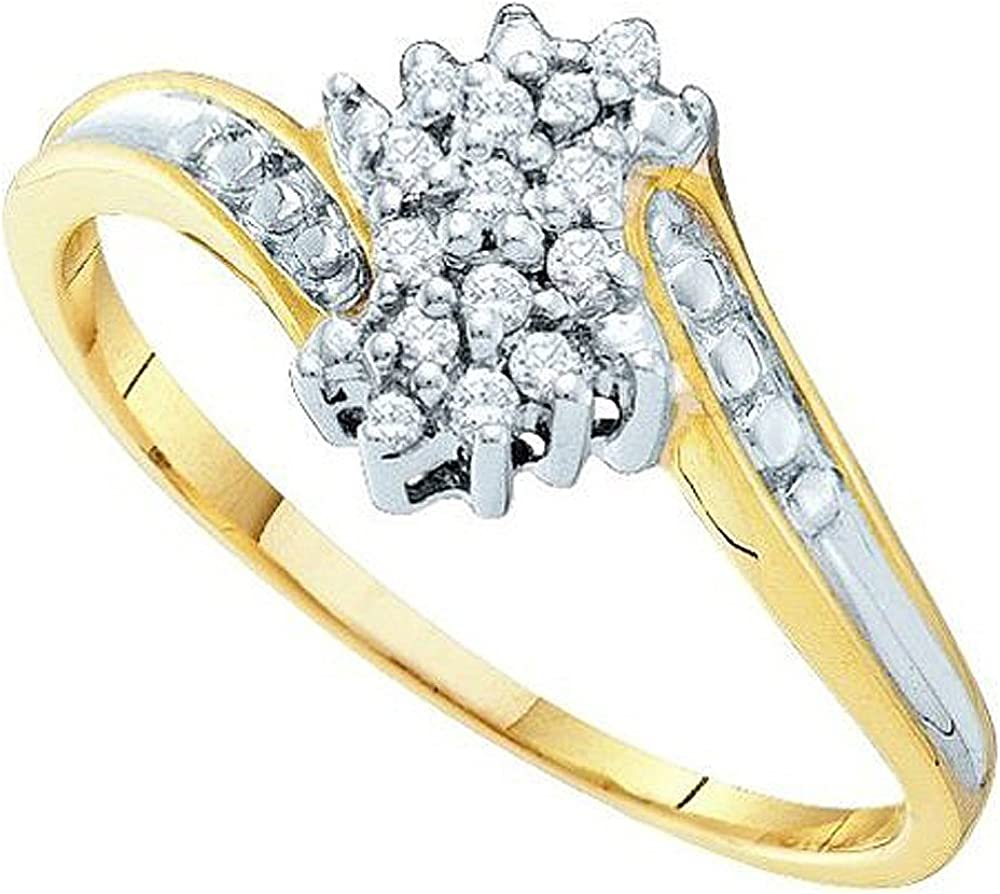 Dazzlingrock Collection 0.10 Carat (ctw) 10K Round Cut Diamond Ladies Cluster Promise Ring 1/10 CT, Yellow Gold
