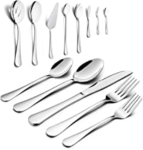 Silverware Set, HaWare 68-Piece Stainless Steel Flatware Set, Includes 60-piece Cutlery Set, 8-Piece Serving Set, Service for 12, Dishwasher Safe
