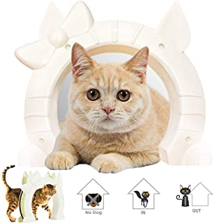 SlowTon Cat Door, Pet Door for Cats Interior Door 2 Way Kitty Hole Shape Pass Fits Hollow Core Glass Solid Door for Cats u...
