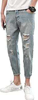 Cintura Ajustada de Estilo Coreano de Primavera y otoño para Hombre con Agujeros en los Pantalones harén Casuales de Nueve...