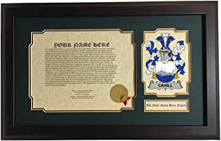 Cahill - Coat of Arms and Last Name History, 14x22 Inches Matted and Framed
