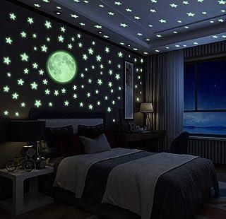 Luminoso Pegatinas de Pared Luna y Estrellas Fluorescentes, Decoración Pared de Niños, Luna y Estrellas, Luminosa Decoración de Pared