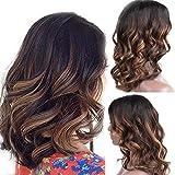 Peluca de pelo humano Zana Ombre con encaje frontal para mujeres negras, sin pegamento, pelo brasileño virgen corto peluca de cuerpo ondulado, color de alta