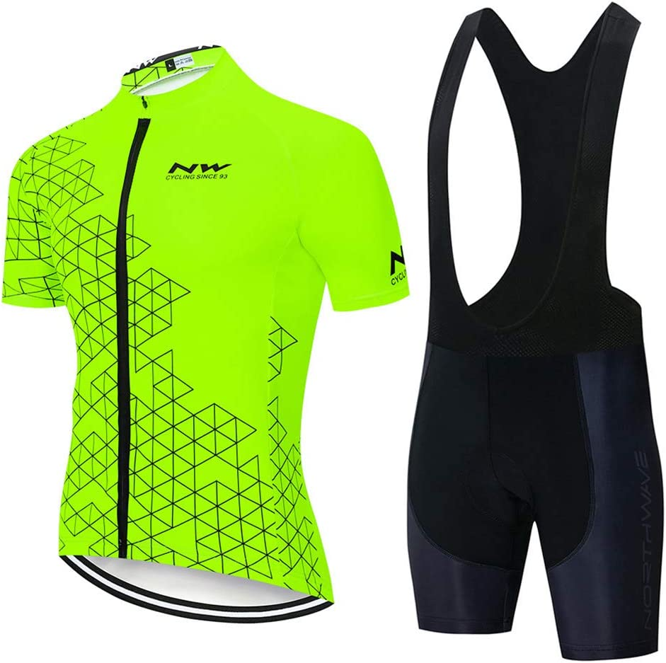 Fxwj Men Cycling Jerseys Suits Bicycle Short Sleeve and 9D Gel Pad Bib Shorts Set for Outdoor Riding Biking Quick Dry Breathable Sweat-Wicking