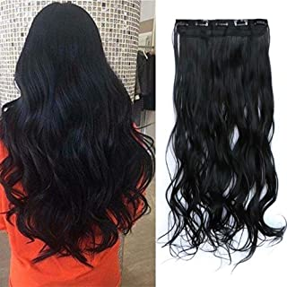iLUU Jet Black Clip in Synthetic Hair Extension Long Wavy Curly Body Wave Hairpieces 130g 28