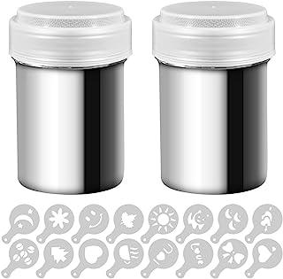 Senhai 2 agitadores de Polvo de Acero Inoxidable, Mesh Shaker Polvo latas de café Cocoa Cinnamon Powder con Tapa, con 16 Piezas Moldes de impresión Stencils