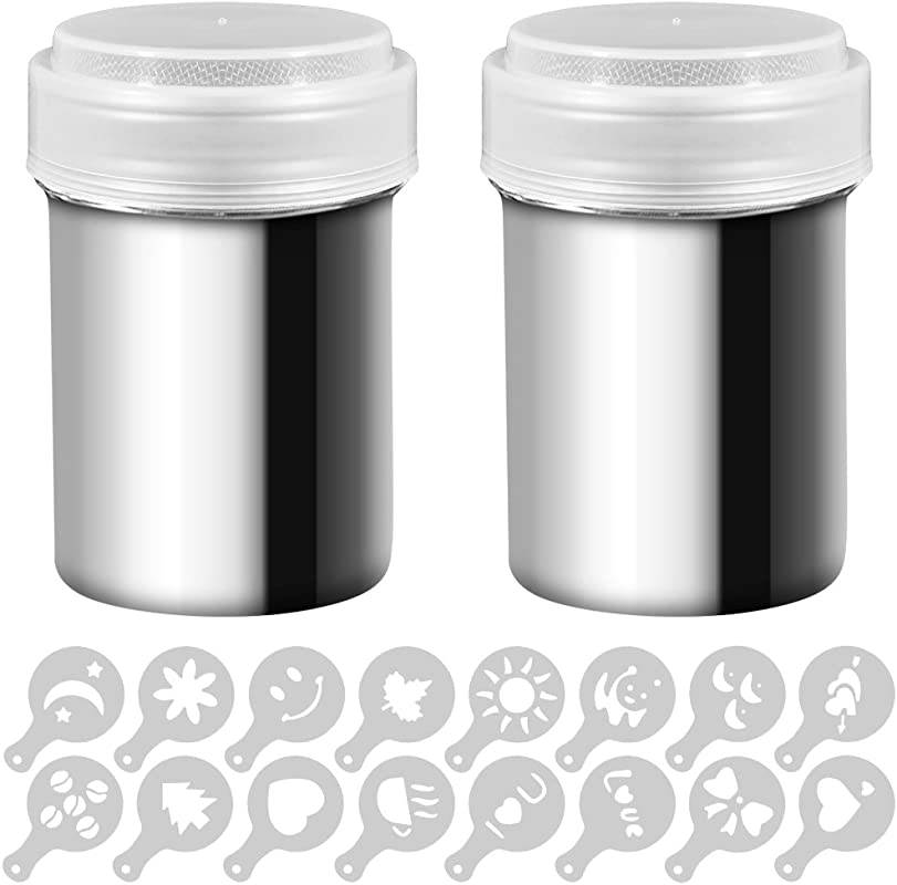 2 Stainless Steel Powder Shakers SENHAI Mesh Shaker Powder Cans For Coffee Cocoa Cinnamon Powder With Lid With 16 Pcs Printing Molds Stencils