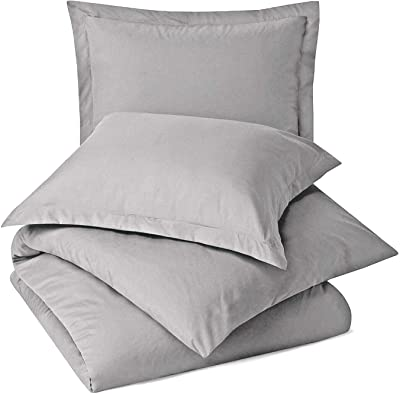 "Bedding Castle, Luxury Zipper Closure 5-Piece Duvet Cover Set (1 Duvet Cover, 4 Pillow Shams) Ultra Soft Egyptian Cotton, 800-Thread Count Solid Pattern Duvet Cover Twin,Silver Grey (68"" x 90"")"
