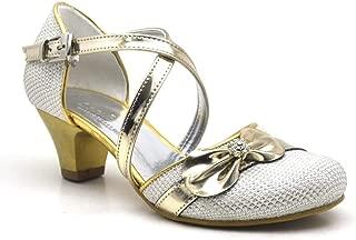 Taşlı Fiyonklu Altın Kız Çocuk Topuklu Abiye Ayakkabı