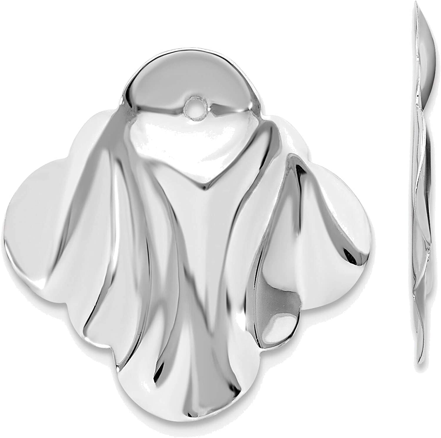 14kt White Gold Polished Hammered Fancy Earring Jackets