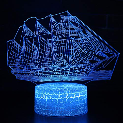 Classic Sailing Boat 3D Lamp Led Night Light,Bedroom Optical Illusion Lamp 7 Colors Dimmable USB Powered Touch Control with Remote for Boys Girls Kids Gifts