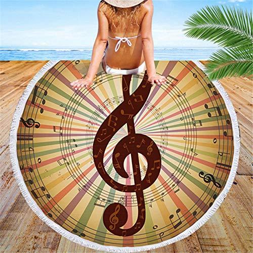 Relovsk Wandtapijt, decoratief, muziekopdruk, super dun, strandhanddoek, rond, kinderen, volwassenen, sneldrogend, grote badhanddoek, zomer, badpak, strand, plafond pad 150cmx150cm