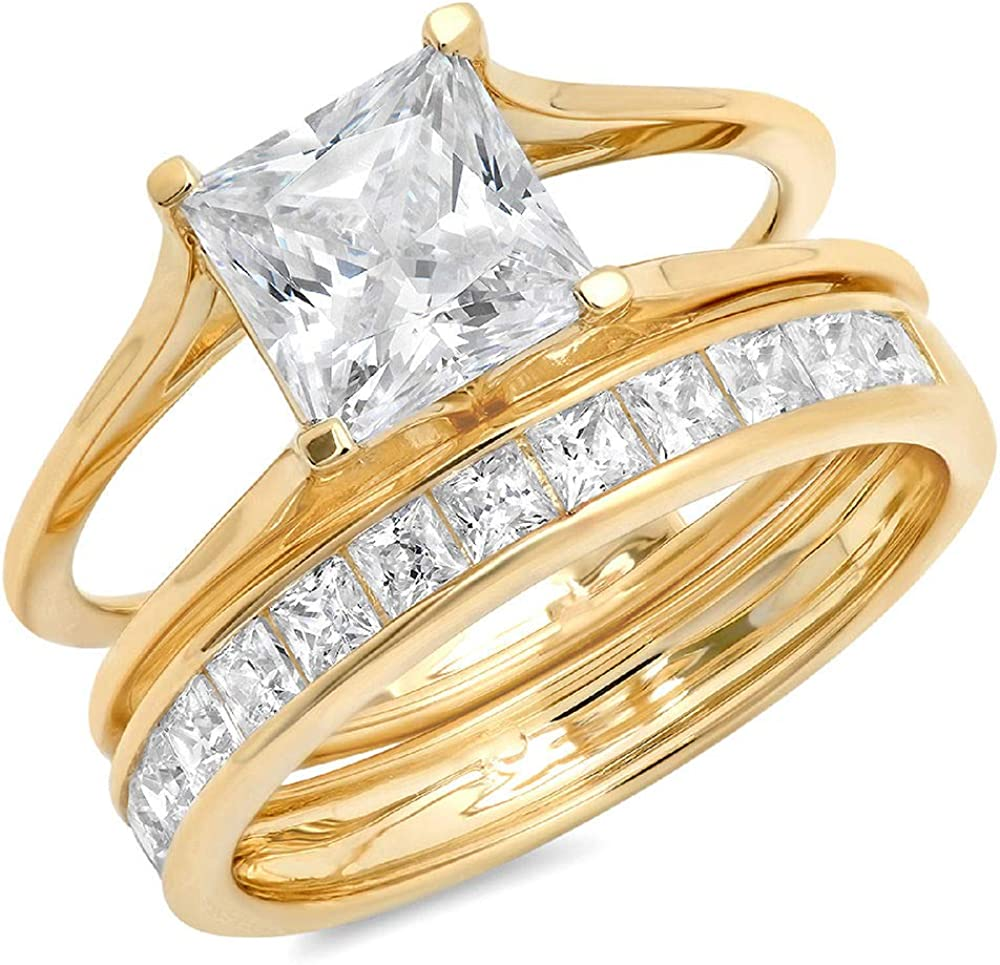 3.40CT Princess Cut Overseas parallel import regular item Simulated Diamond Halo Pave Max 78% OFF Engage CZ Bridal