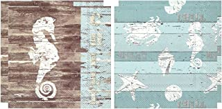 Summer Cocktail Napkins Paper   Beach Theme 20 Count 3-Ply  Set of 2, Seahorse and Beach Bum   40 Napkins Total