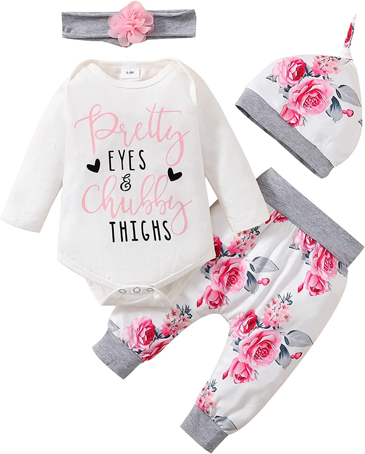 Newborn Baby Girl Clothes Infant Girl Outfits Cute Printed Romper Flower Pants Set Baby Girl Gifts