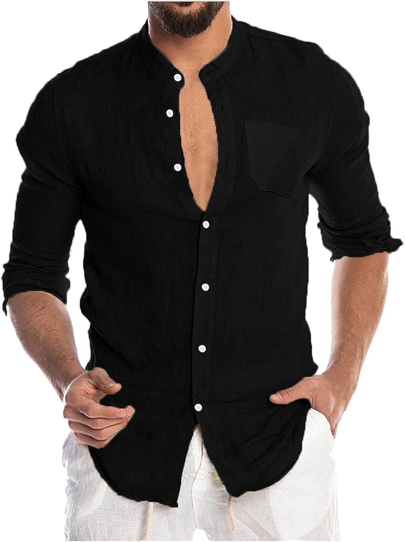 Men's Cotton Linen Henley Shirt Long Sleeve Tee Shirts Hippie Casual Beach T Shirts Yoga Loose Fit Lightweight Blouse
