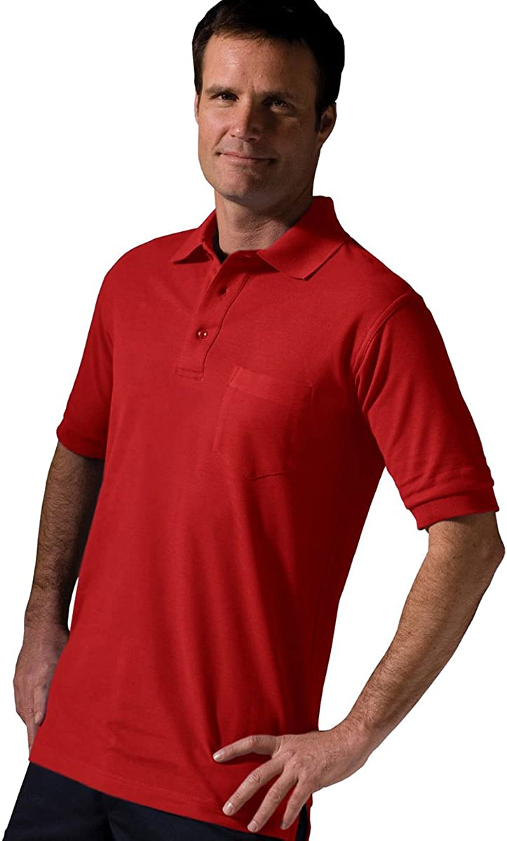 Edwards Garment Big And Tall Short Sleeve Pique Polo Pocket Shirt_RED