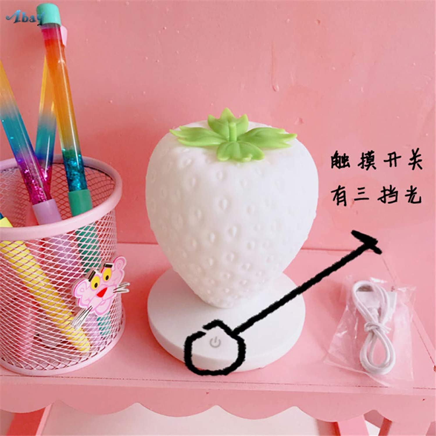 KKXXYD Cute Creative Strawberry Pink Night Lights Princess Room Girl Bedroom Decorative Lamps Bedside Table Ornaments Girl Gift Lamps