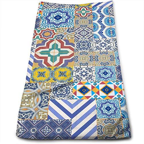 Precioso patrón de Patchwork Coloridos Azulejos portugueses marroquíes 鍓  湰 Toalla de Mano, Toalla de Viaje, Toalla de baño, toallitas Altamente absorbentes Toallas Multiusos 70x30 cm