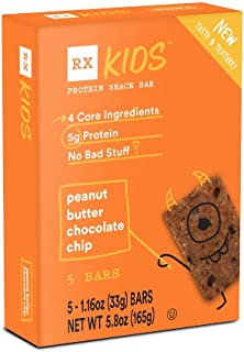 RXBAR, RX Kids Protein Snack Bar, Peanut Butter Chocolate Chip, 1.16oz Bars, 5ct
