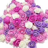 (アクテール)AQ-Terre バラ の 造花 花 部分のみ 直径 約 3.5センチ ミニバラ 100個セット 手芸 ハンドメイド ウエディング (プリンセスカラー 100個)