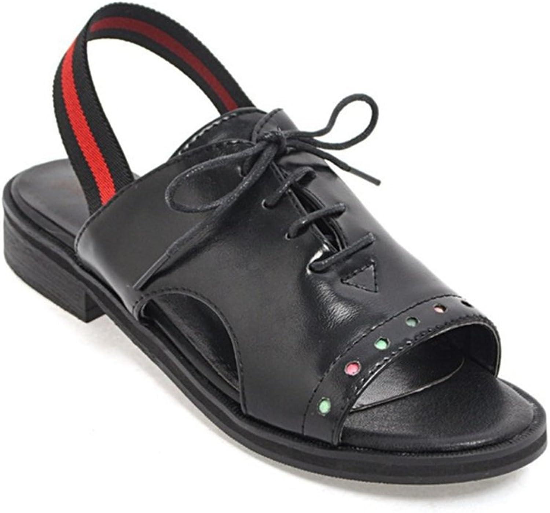 GIY Women's Peep Toe Flat Low Heel Sandals Platform Slingback Lace Up Summer Walking Dress Sandals Slide